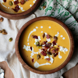 Butternut Squash Soup with Bacon, Goat Cheese, and Pistachios