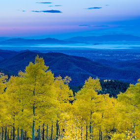 Fall Color from Santa Fe Ski Basin, New Mexico by Beau Rogers - Landscapes Mountains & Hills ( autumn, santa fe ski basin, scenic, view, santa fe, aspen, fall color, new mexico )