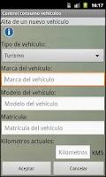 Screenshot of Control consumo vehículos