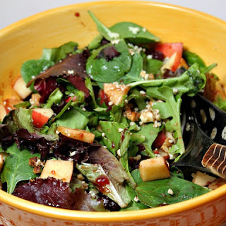 Pear, Walnut and Blue Cheese Salad with Cranberry Vinaigrette