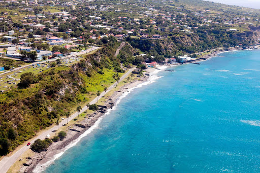 An aeriel view of the coast of St. Eustatius. The small Caribbean island is a special municipality of the Netherlands.