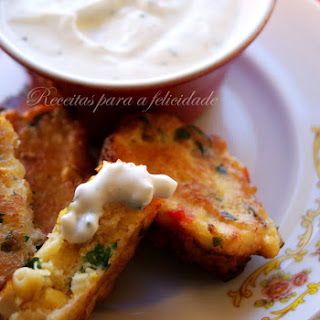 Crabcakes with Yogurt Dipping Sauce.