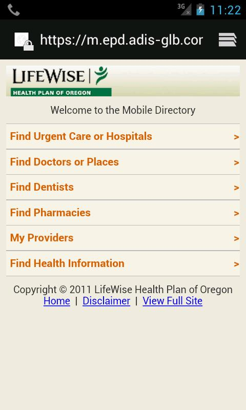 LifeWise Mobile - screenshot