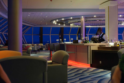 Celebrity-Summit-lounge - A look at one of the classy lounges aboard Celebrity Summit during a cruise to Bermuda.