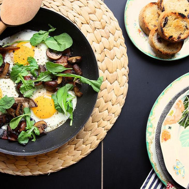Mushroom and Bacon Breakfast Skillet