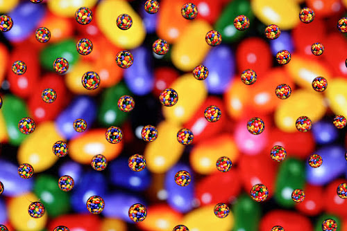 Candies by Ramakant Sharda - Abstract Water Drops & Splashes ( sweet, candy, colors, candies, glass, refraction, reflaction, dessert,  )