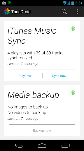 TuneDroid Backup iTunes Sync