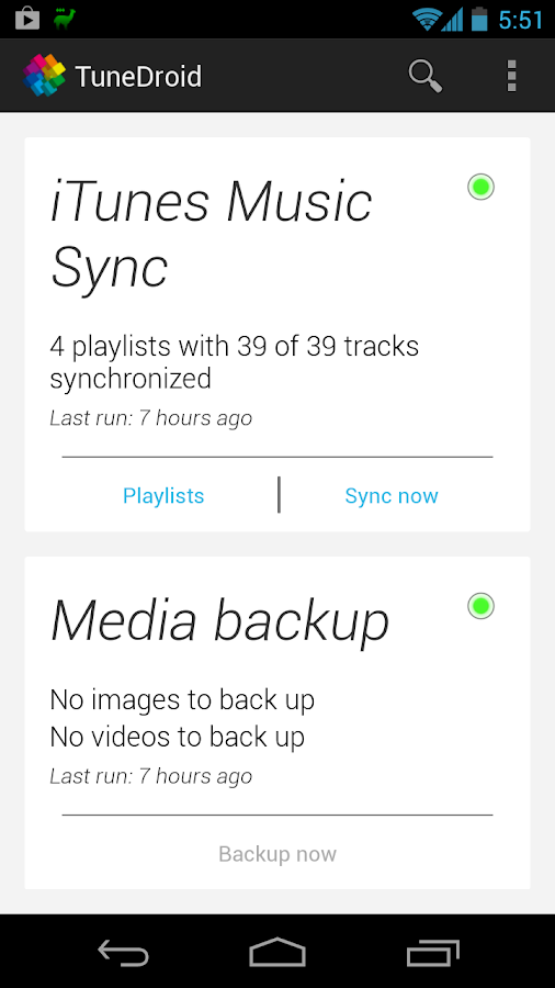 TuneDroid Backup & iTunes Sync - screenshot