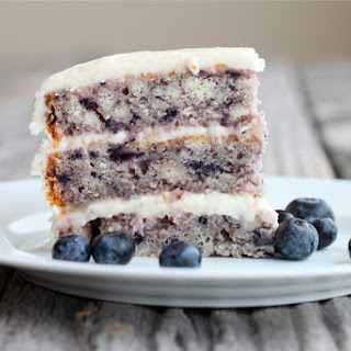 Moist Blueberry Cake with Light Lemon Icing.