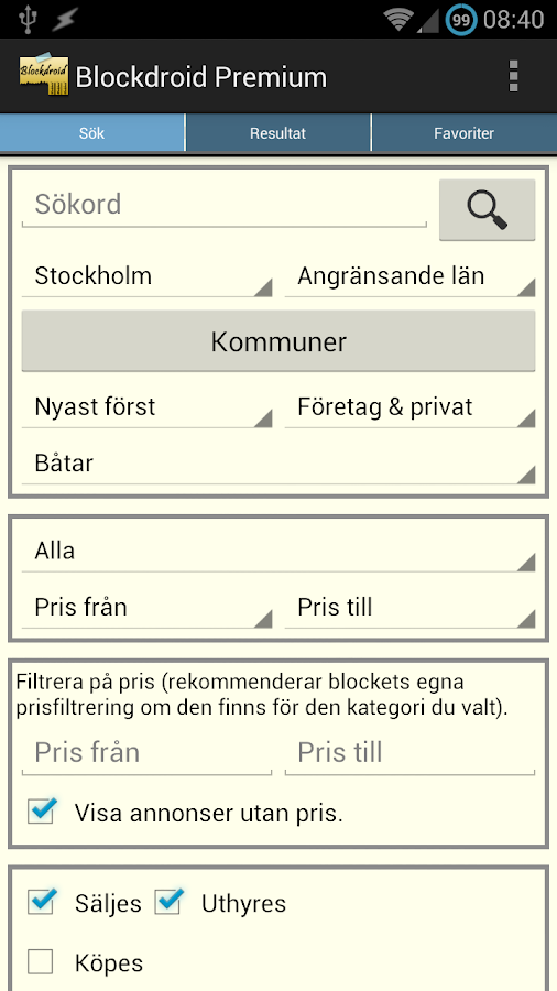 Blockdroid (Blocket-annonser) - screenshot