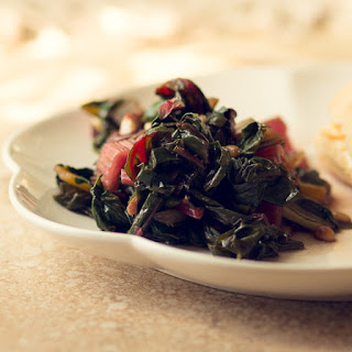 Garlicky Swiss Chard with Olives and Pine Nuts.