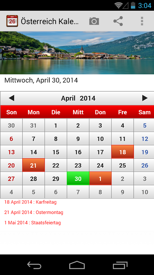 sterreich kalender android apps on google play. Black Bedroom Furniture Sets. Home Design Ideas