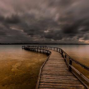 Lake Clifton sunset by Lourens Lee Wildlife Photography - Buildings & Architecture Bridges & Suspended Structures ( sun rise, sunset, jetty, seascape, bridges, lourens lee, landscape,  )