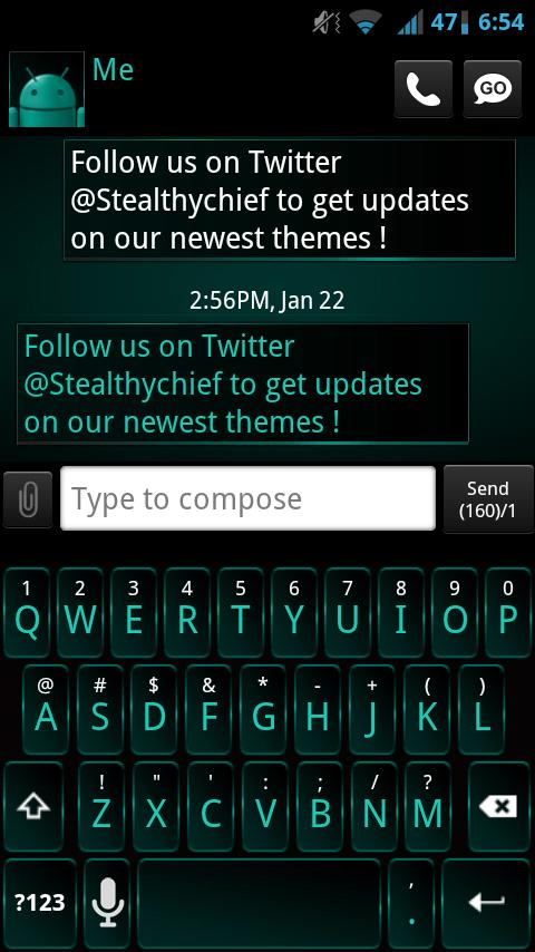 GO SMS Dark Cyan Theme - screenshot