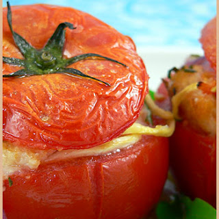 Stuffed Tomatoes With Savory Croûtons