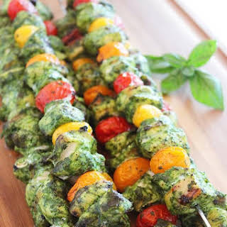 Grilled Pesto Chicken and Tomato Skewers.