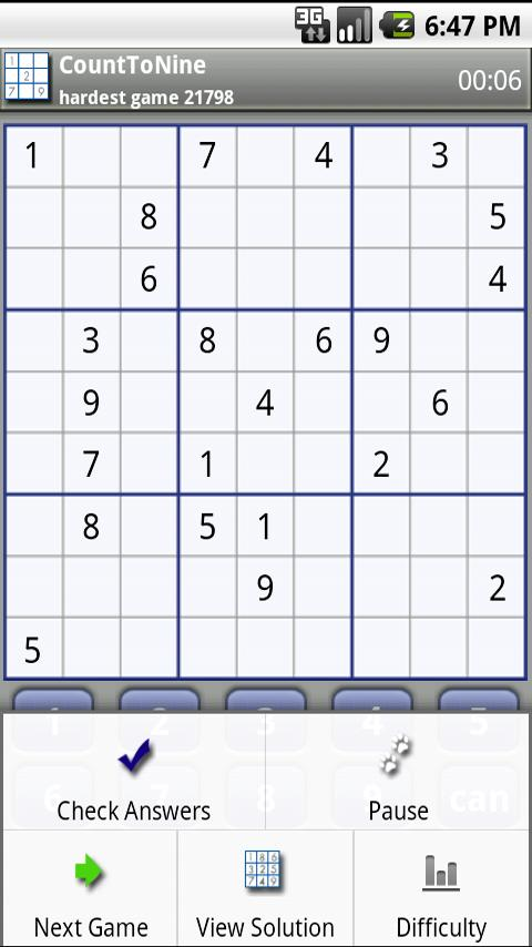 Count To Nine Sudoku - screenshot