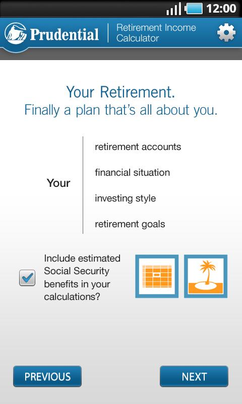Retirement Income Calculator- screenshot