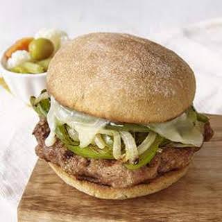 Turkey Sausage & Peppers Burger.