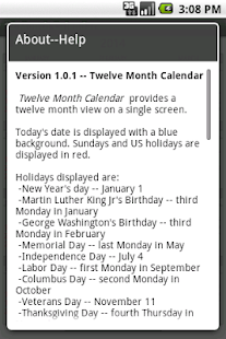 twelve month calendar apps on google play