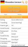 Screenshot of Phrasebook German