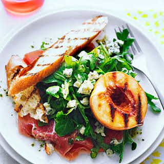 Grilled Peach Salad with Rosemary Dressing.