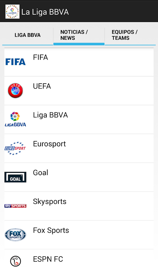La Liga BBVA in Spain - screenshot