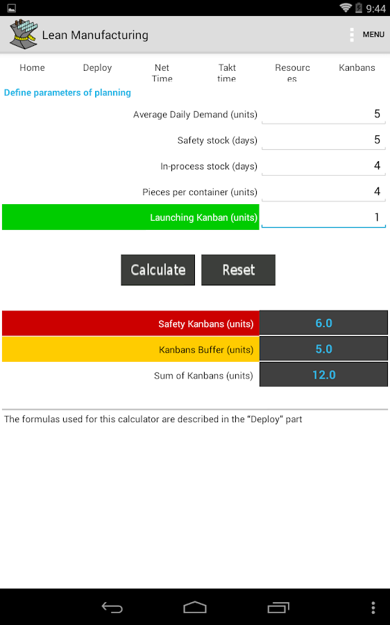 Lean Manufacturing Lite - screenshot