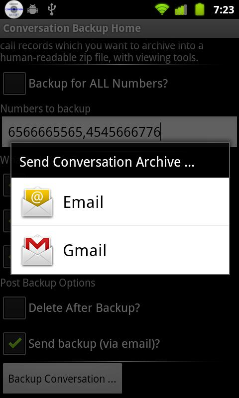 Conversation Backup- screenshot