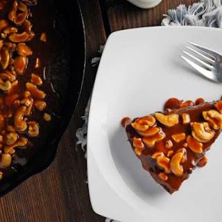 Caramel Cashew Skillet Brownies