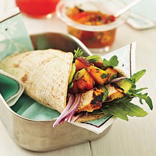 Curry Chicken Wraps with Nectarine Chutney.