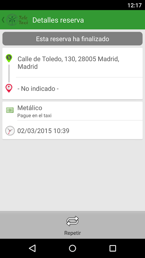 Teletaxi Madrid: captura de pantalla