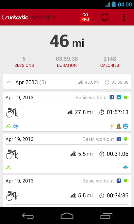 Runtastic Road Bike - screenshot