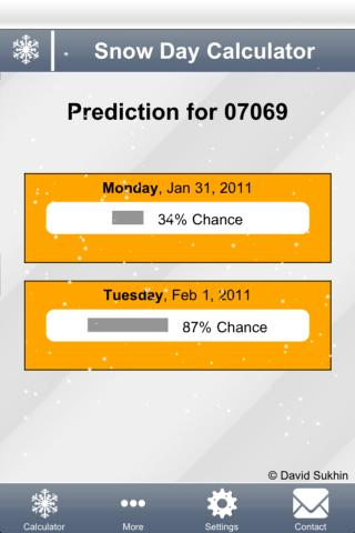 Snow Day Calculator- screenshot