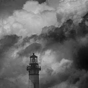 Storm Brewing by Eddie Tuggle - Black & White Buildings & Architecture ( thunder, nc, outer banks, lighthouse, bw, storm )