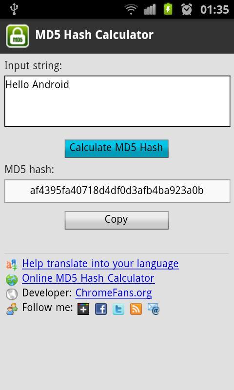 MD5 Hash Calculator- screenshot
