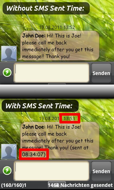 SMS Sent Time - screenshot