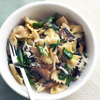 Bow-tie Pasta with Mushrooms and Spinach.