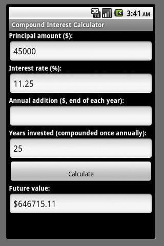 Compound Interest Calculator - screenshot