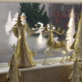 Santa by Lynn Morley - Public Holidays Christmas ( reindeer, reflection, santa, tree, white, christmas, gold, Christmas, presents, joy, family, love, happiness )