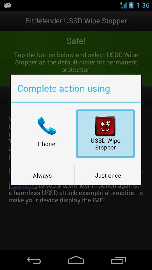 Bitdefender USSD Wipe Stopper - screenshot
