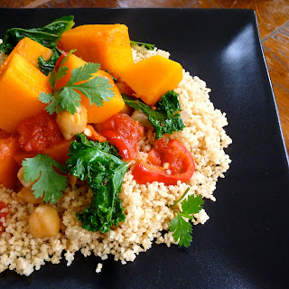 Butternut Squash, Tomato and Chickpea Ragout with Kale and Couscous.