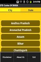 Screenshot of STD Codes of India