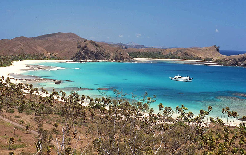 The amazing view at Liku Lagoon in Fiji's Yasawa Islands, where cruise ship passengers can stroll the empty beaches or snorkel on reefs teeming with tropical fish.