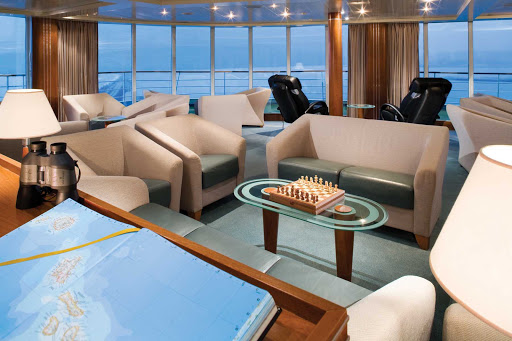 Silversea_Observation_Lounge-2 - Silver Shadow's Observation Lounge offers a peaceful retreat above the bow of the ship. Get comfortable, enjoy a beverage and take in the sweeping ocean vistas.
