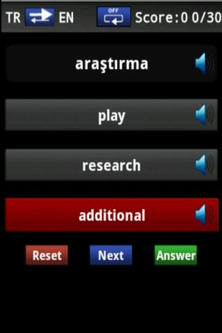 Vocabulary Trainer(TR/EN) Int. - screenshot