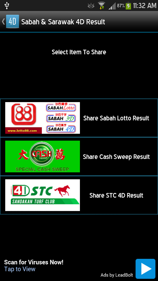 Sabah & Sarawak 4D Result - screenshot
