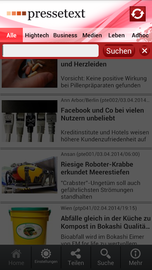 pressetext mobile- screenshot