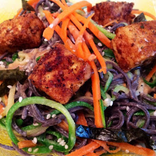 Pan-Fried Tofu with Zucchini, Carrot and Black Bean Sesame Noodles.