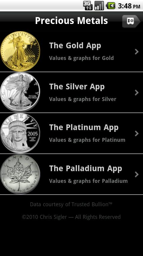 The Precious Metals App - screenshot